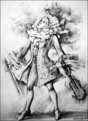 МОЦАРТ, рисунок карандаш,  автор Ксения Декова