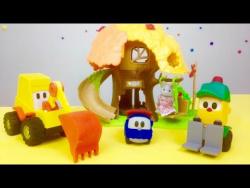 Развивающее видео для детей: Грузик, Лева и Мася строят детскую площадку. Видео с  машинками.